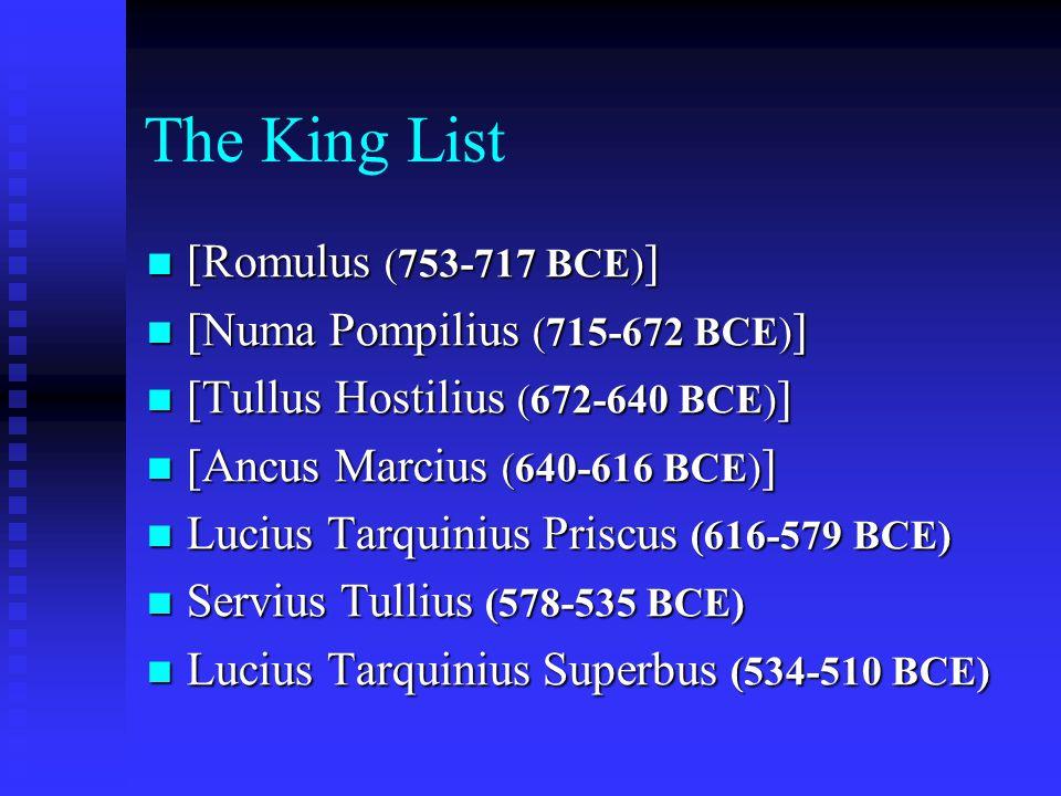 The King List [Romulus (753-717 BCE)] [Numa Pompilius (715-672 BCE)]